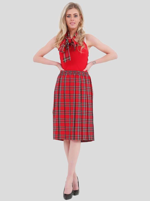 Maya Plus Size Pleated Checked Tartan Print Skirt 16 - 30