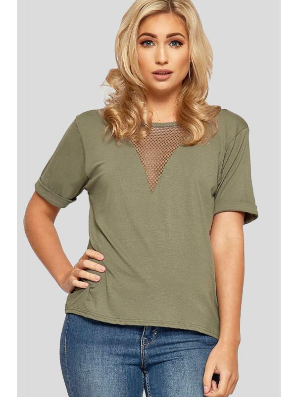 Megan Plain Fishnet T-Shirt Tops 8-22