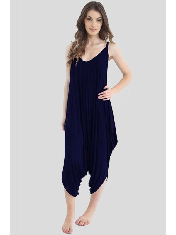Mila Plus Size Plain Cami Strappy Lagenlook Romper Jumpsuit 16-26
