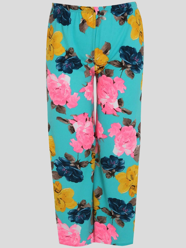 Mona Plus Size Blue floral Printed Palazzo 16-22