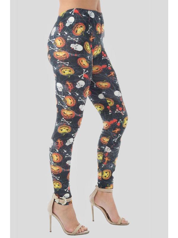 Ema Black - Skull Web Pumpkin Print Leggings 8-14