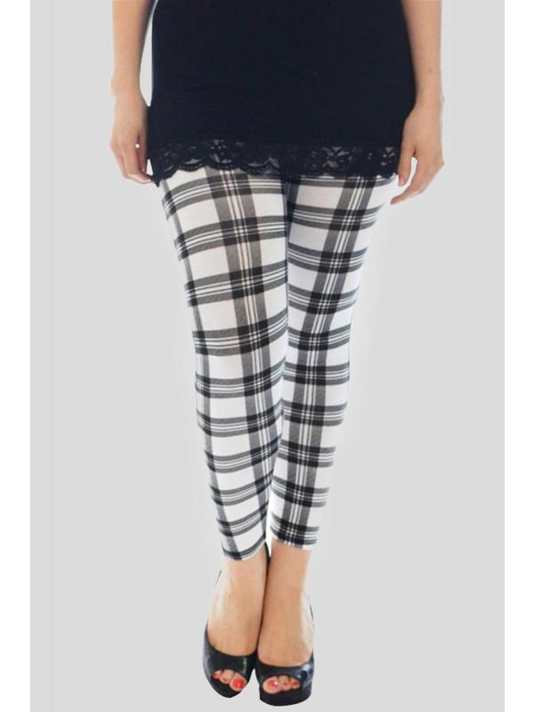 Ayra Plus Size White Tartan Print Leggings 16-26
