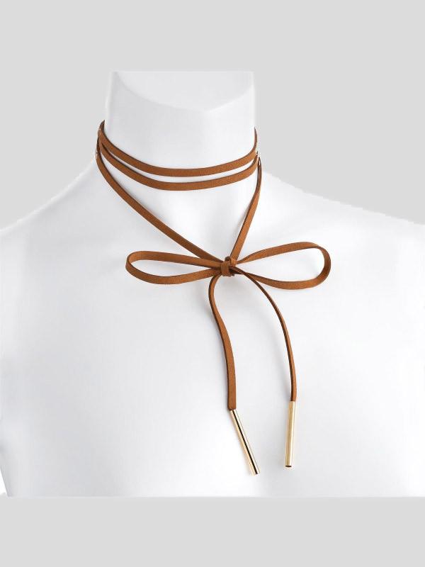 Nicola Brown Velvet Look Endless Tie Necklace