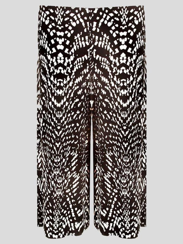 Ophelia Plus Size Dogtooth Print Knee Length Palazzo 16-26