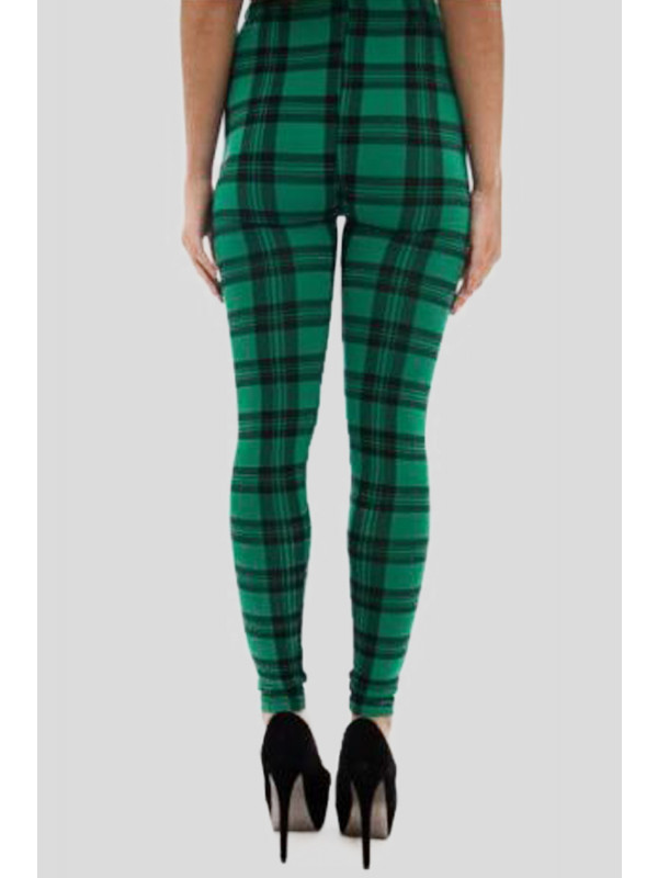 ORLAITH Green Tartan Skinny Stretchy Leggings 12-14