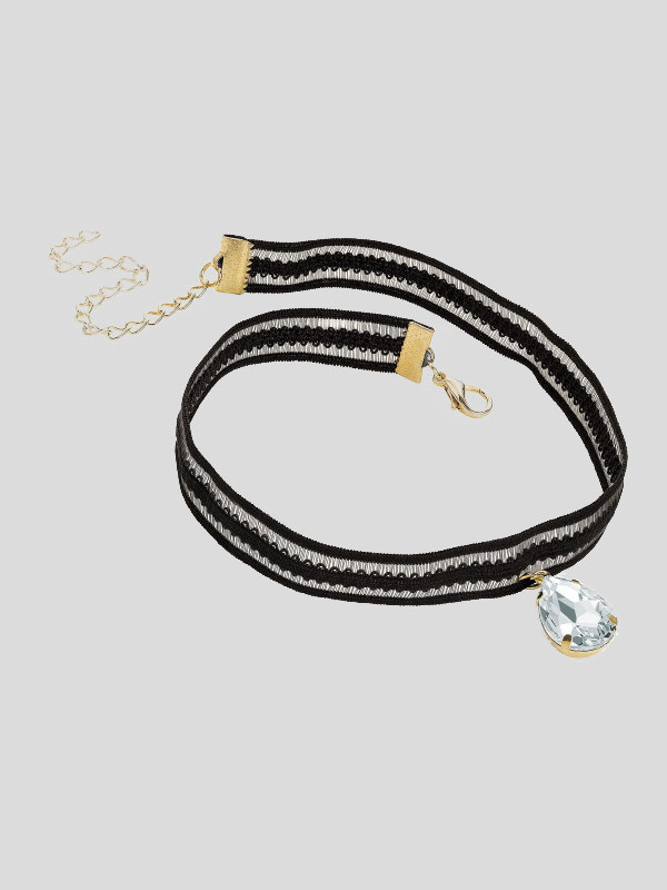 Philippa Crystal Pendant Black Elasticated Choker Necklace