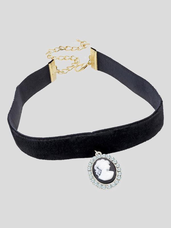 Poppy Cameo Black Pendant Elasticated Choker Necklace