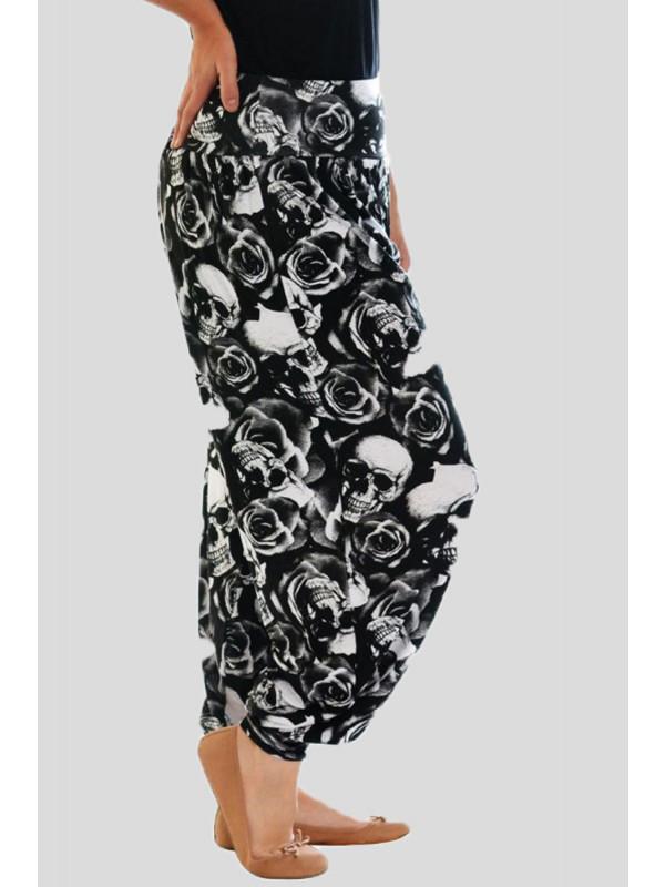 Saoirse Skull Rose Printed Harem Pants 12-14