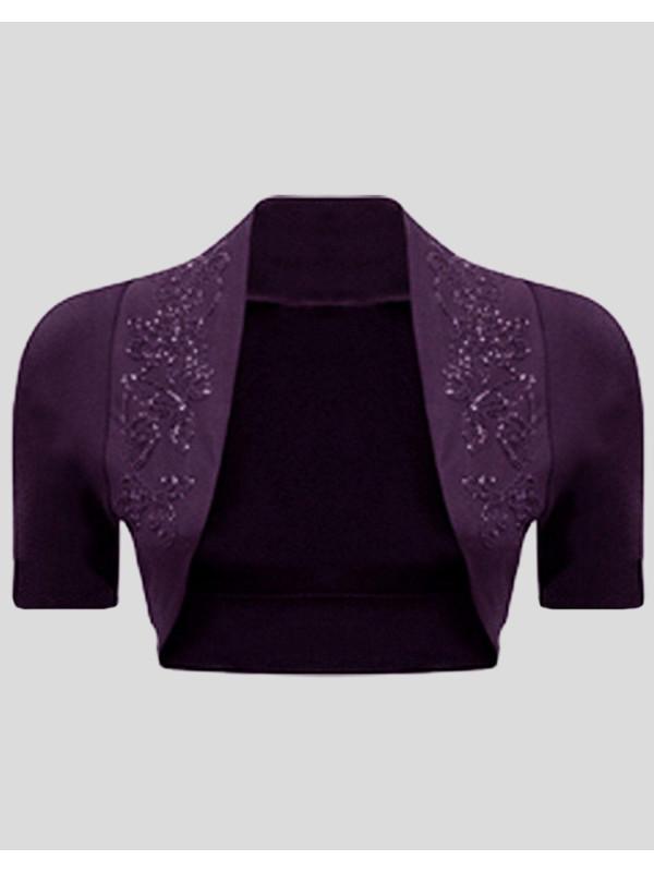 Amber Plus Size Sequines Short Sleeve Shrugs 16-26