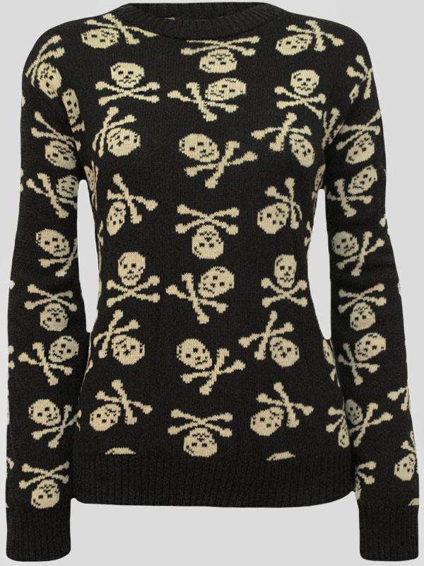 REMI Skull Bones Print Knitted Jumper 8-14