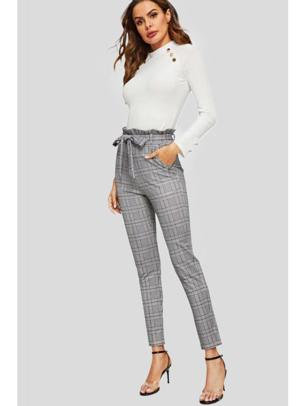 Renae Plus Size Hounds Tooth Print Paper Bag Cigarette Trousers 16-26