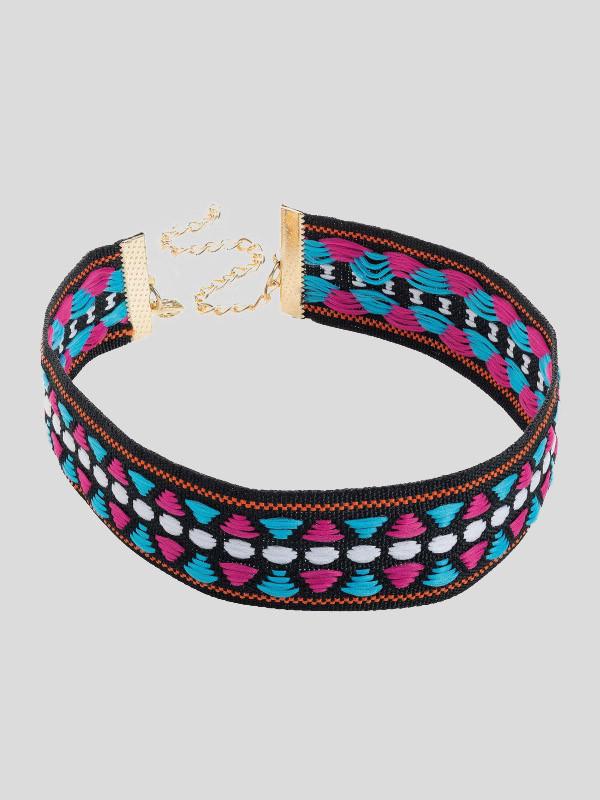 Rhiannon Fuchsia-Blue Tone Tribal Print Choker Necklace