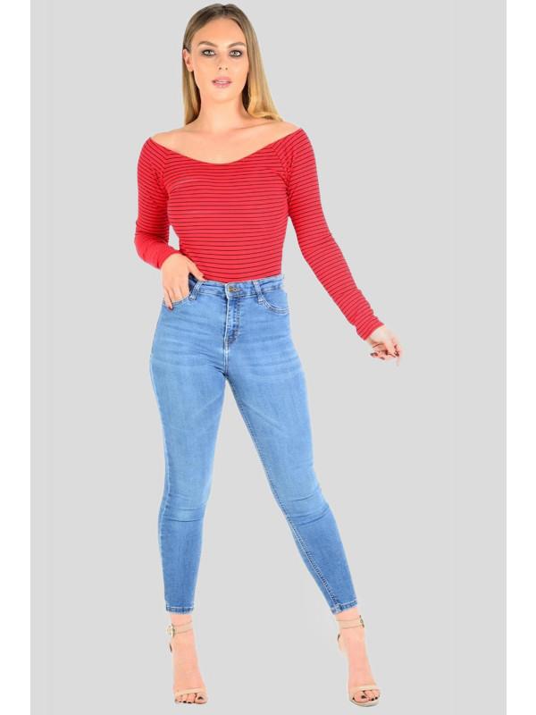 Ruby Plus Size Stripe Ribbed Bodysuit Leotard Tops 16-22