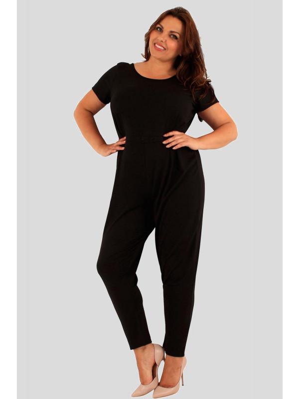 Florence Plus Size Black Cap Sleeve Jumpsuit Dress 18-24