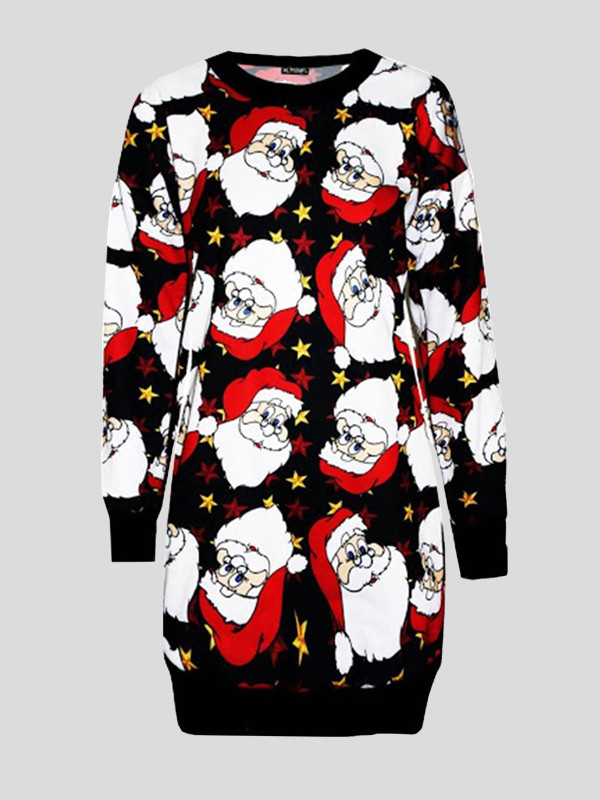 Asiya Plus Size Big Santa Face Printed Jumpers 16-22
