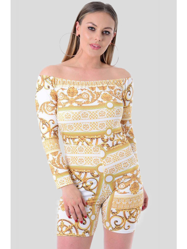 Sarah Off Shoulder Gold Chain Print Slinky Playsuit 8-14