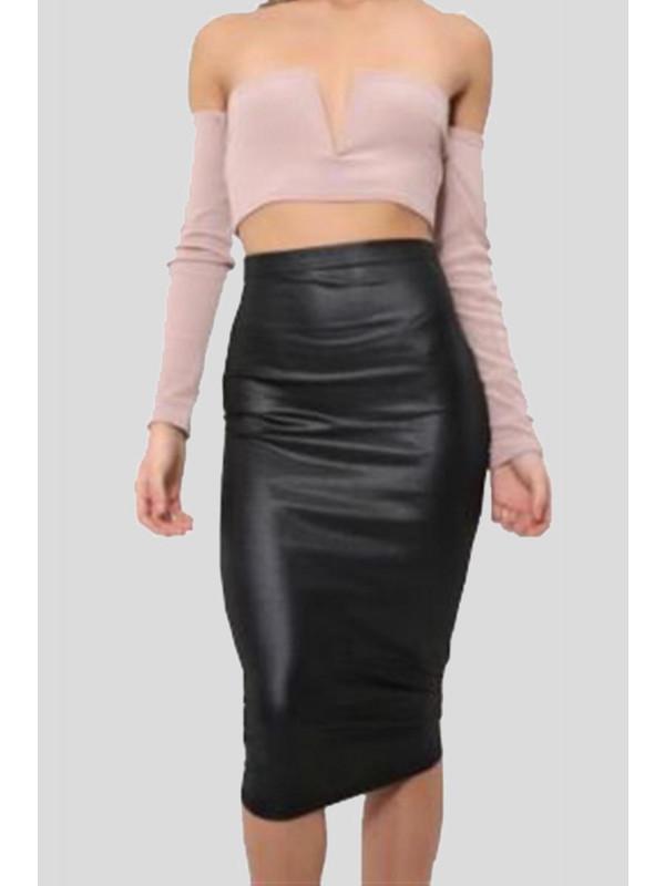 Kirsten Plus Size Wetlook Midi Skirt 16-26