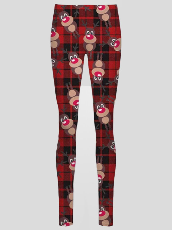 Julia Plus Size Red Tartan Rudolph Xmas Leggings 16-34