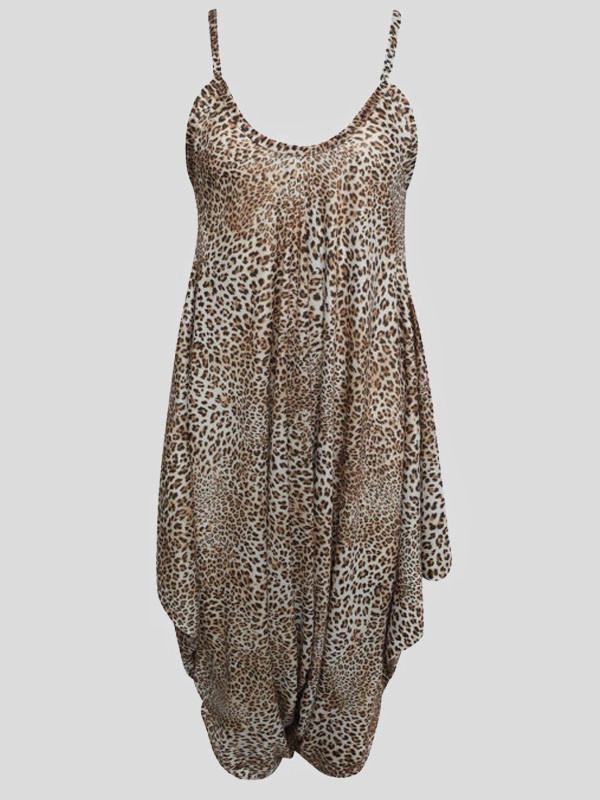 Sienna Plus Size Cheetah Baggy Harem Cami Jumpsuit 16-26