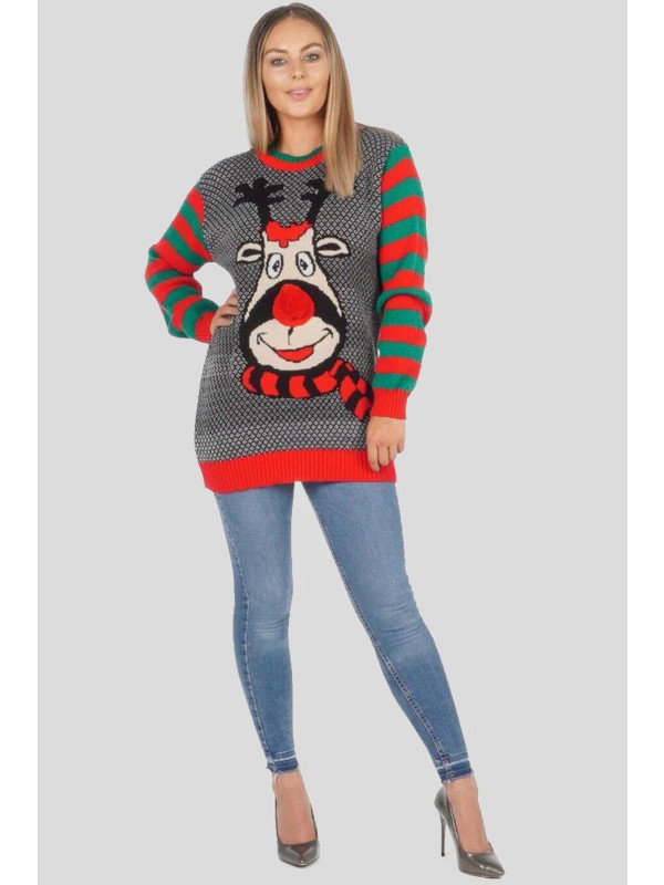 Jolly Plus Size Christmas Pom Scarf Long Sleeve Pullover Jumpers 16-22