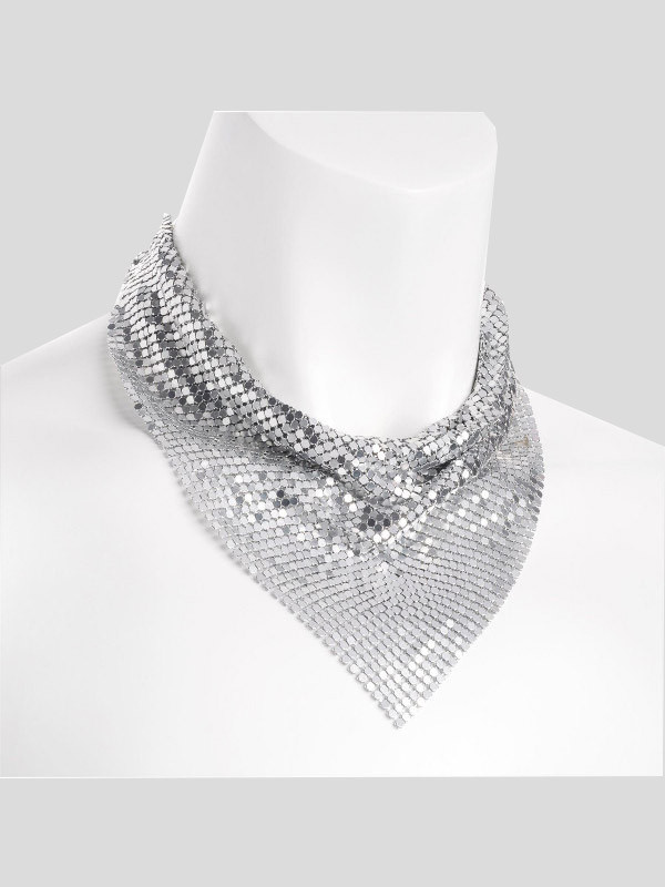 Sophia Silver Color Chain Mail Design Metal Necklace