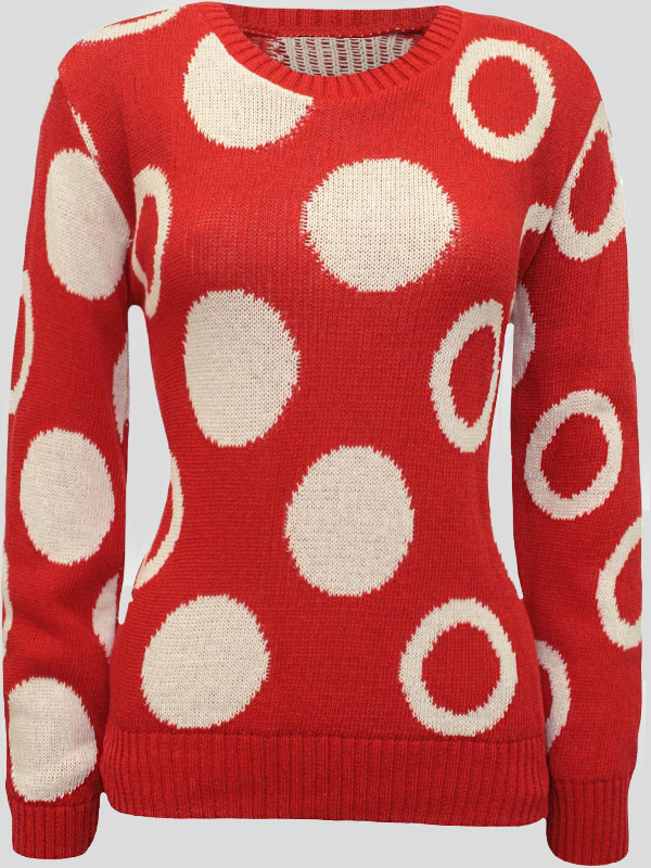 Tayla Polka Dot Print  Knitted Jumper 8-14
