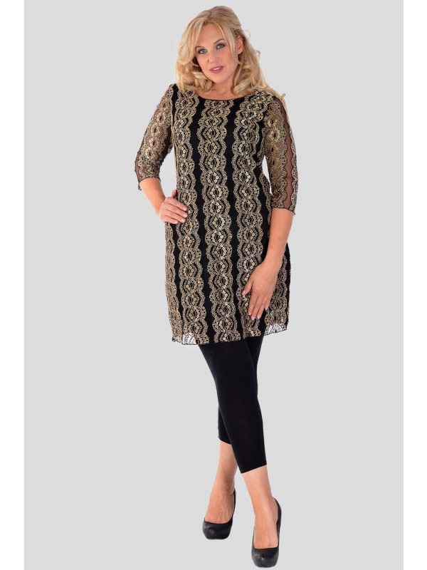 Thea Plus Size ¾ Sleeve Gold Coral Lace Lined Midi Dress 16-26