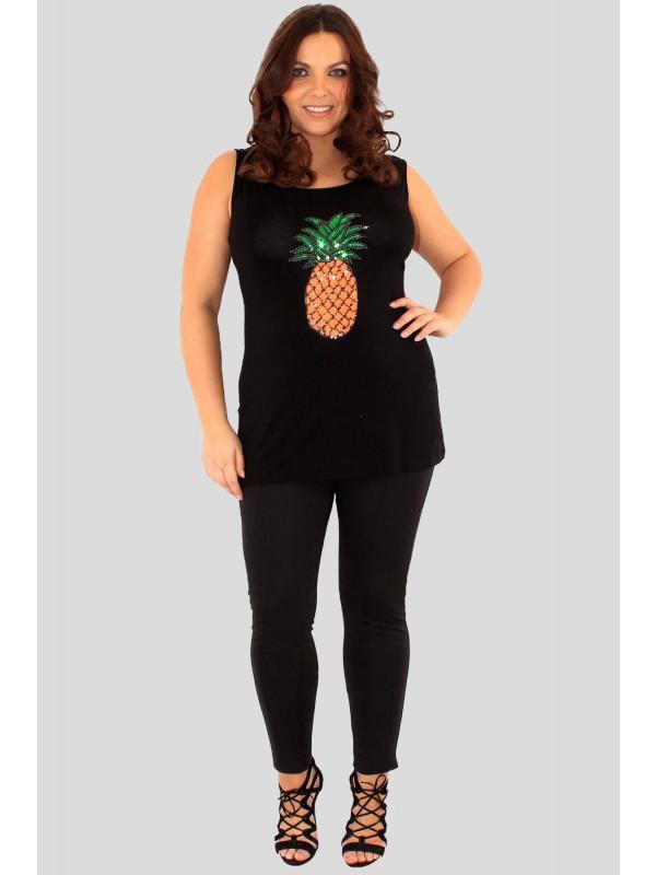 fbb739798447a Thea Plus Size Pineapple Sequin Vest Top 16-26