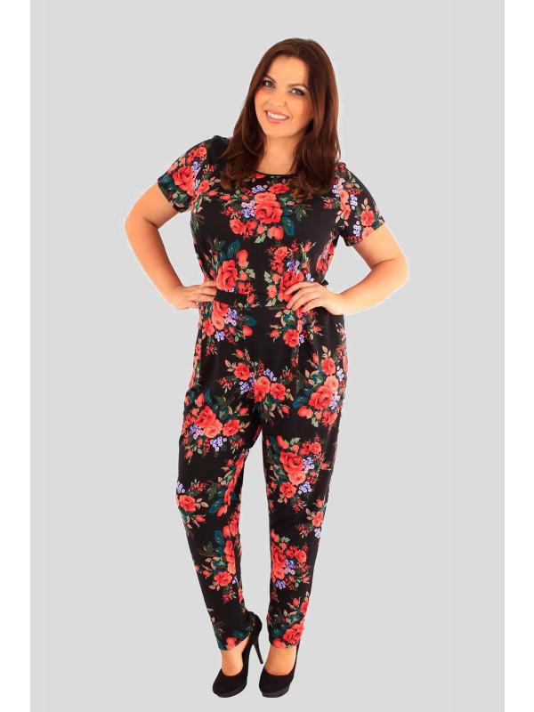 Isabella Plus Size Tropical Floral Print Jumpsuits 18-24
