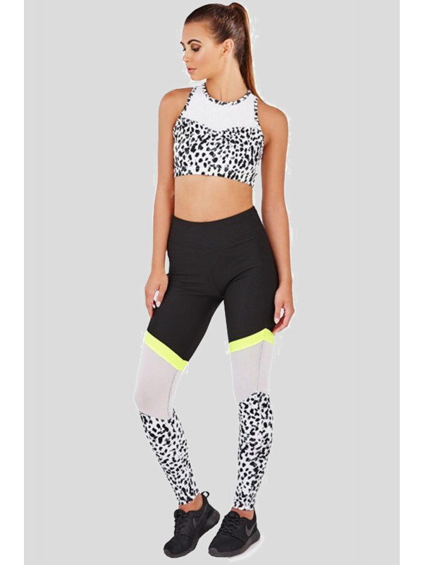Mona Mesh And Print Legging Stretchy High Waist Gym Pants 6-12