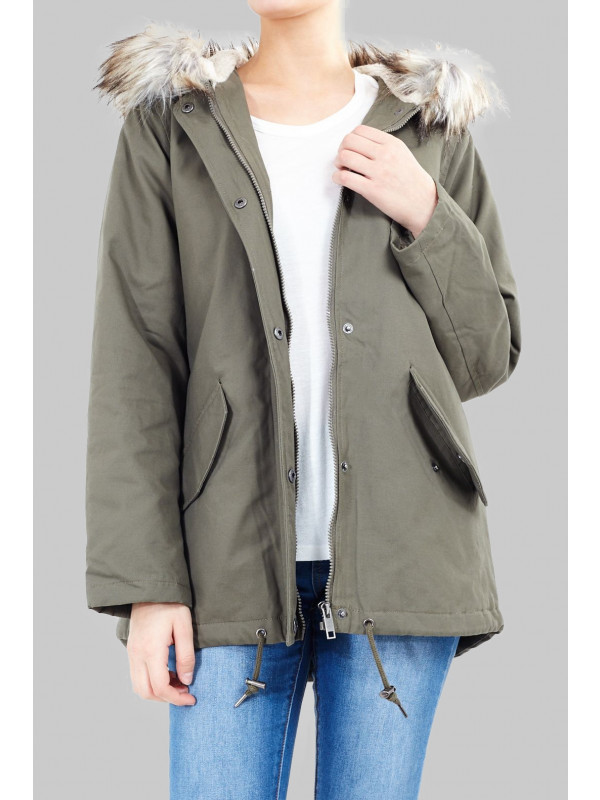 Megan Camo Fur Hooded Winter Parka Jacket 8-16