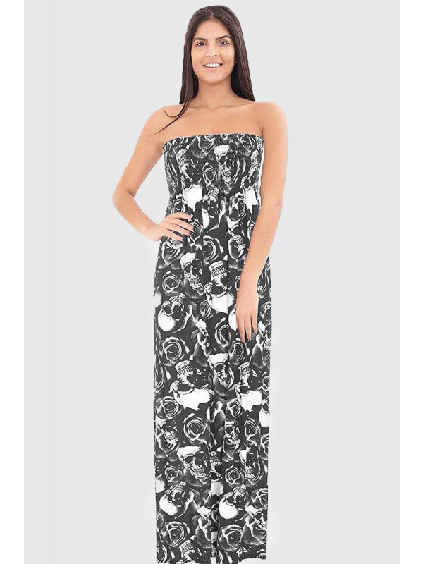 ESHAL Skull Rose Print Boob Tube Maxi Dress 8-14
