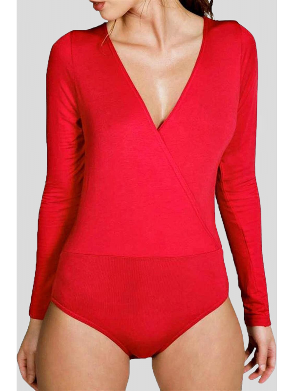 Alexandra Plus Size Plain Leotard Cross Wrap Bodysuits 16-26