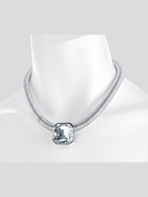 Zara Silver Color Diamond Thread Design Rope Necklace