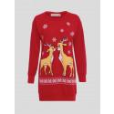 Meadow Plus Size 2 Reindeer Print Xmas Jumper 16-22