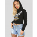 Sarah Eagle Motor Cycle Print Sweatshirt Hoodie Crop Top 8-14