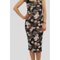 ROXANNE Black Floral Bodycon Dress 8-14