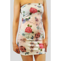 CARMEN Cream Floral Bodycon Dress 8-14