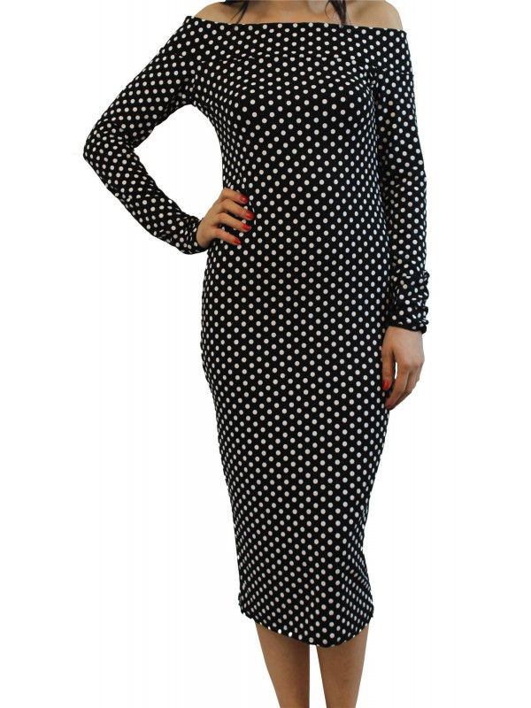 Ava Plus Size Black Polka Dot Off Shoulder Midi Dress 16-22