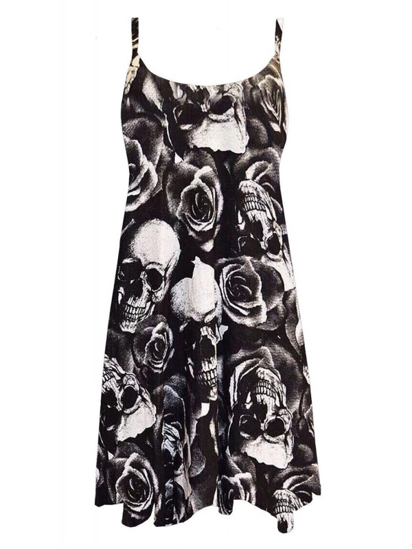 Nancy Plus Size Skull Rose Print Swing Dress 16-26