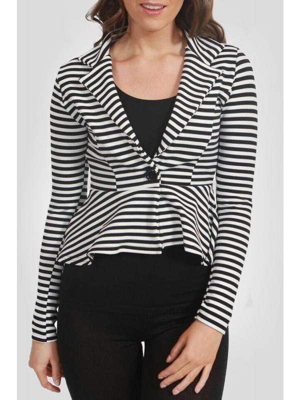 Amelie Stripy Single Button Peplum Blazer Jacket 8-14