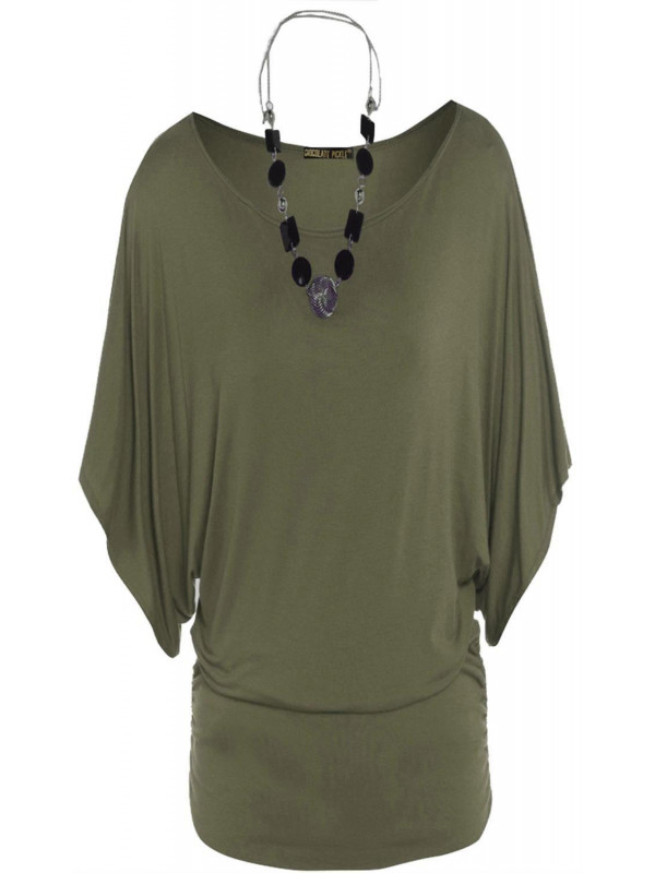 BETTY Batwing Sleeve Tunic Boat Neck Tops 8-14