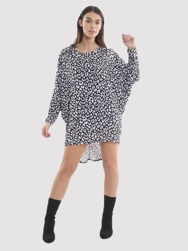 HAFSA Leopard Print Sleeve Dip Hem Baggy Tops 8-14
