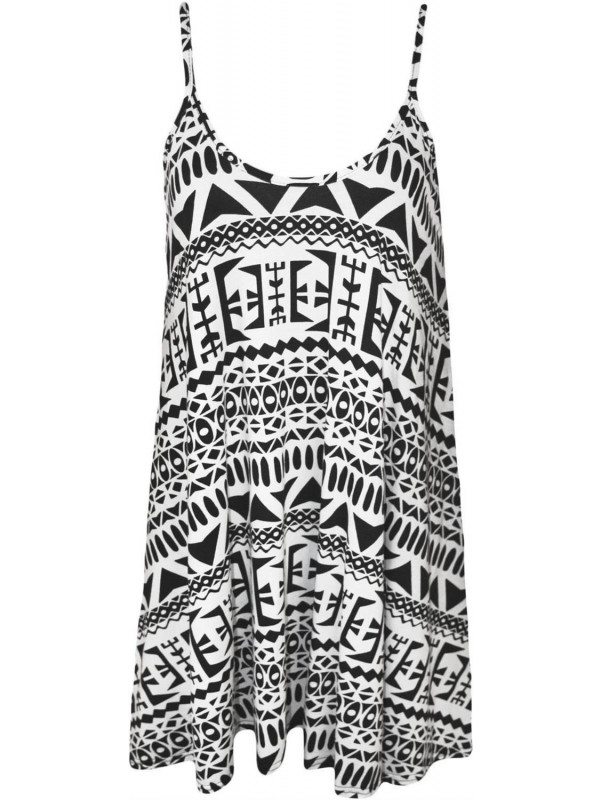 Rosie Plus Size Big Aztec Print Swing Dress 16-26