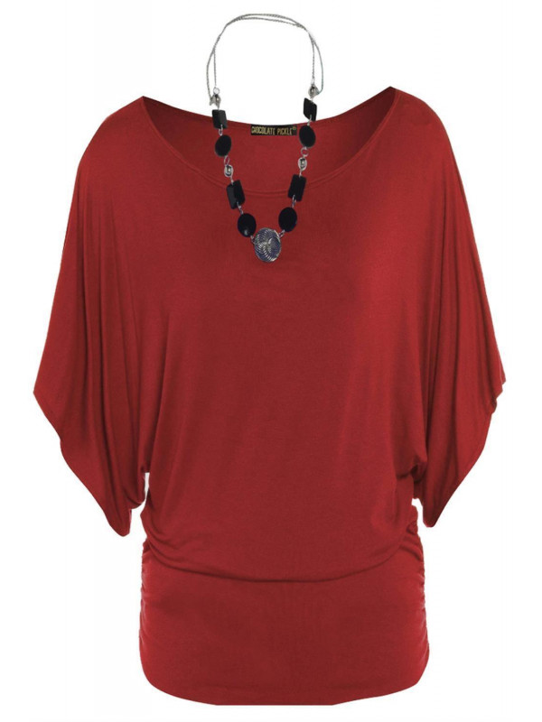 LIVIA Plus Size Batwing Sleeve Tunic Boat Neck Tops 16-26