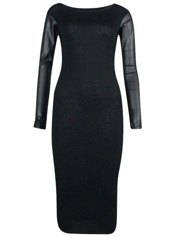 Miya Plus Size Pu Wetlook Long Sleeve Bodycon Midi Party Dress 16-26
