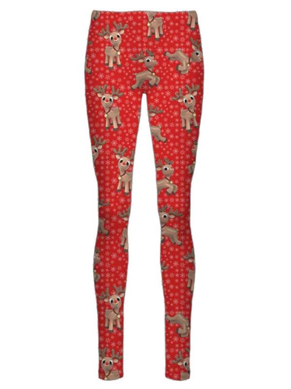 Aria Red Reindeer Flakes Xmas Leggings 8-34