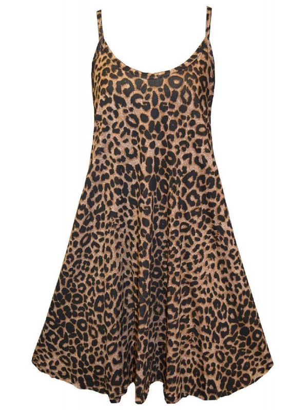 Mary Plus Size Leopard Print Swing Dress 16-26