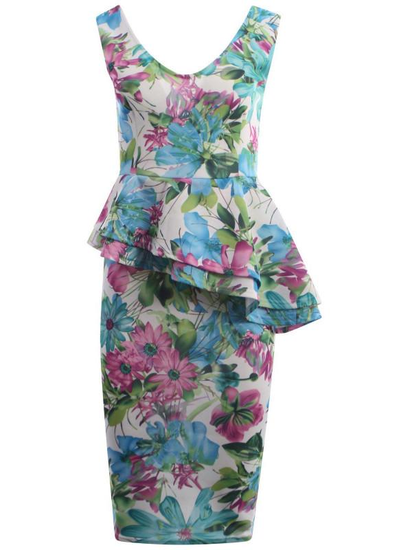 Elaine Plus Size Floral Prints Bodycon Midi Dress 16-22