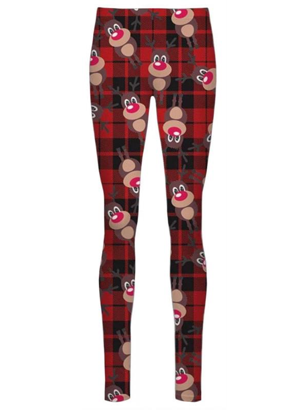 Julia Plus Size Red Tartan Rudolph Xmas Leggings 16-34